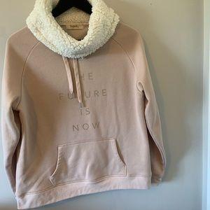Sweatshirt / Sherpa Lined Cowl Neck / Dusty Pink